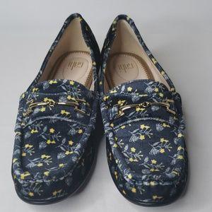 Cabi Blue Floral Velvet Loafers Size 7